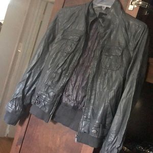 Gray faux leather jacket